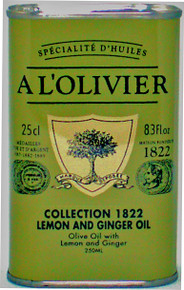 A L'Olivier lemon and ginger flavored and infused olive oil