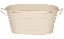 Oval Tin Gift Basket Painted Cream Finish