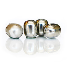 Stainless wine globes.