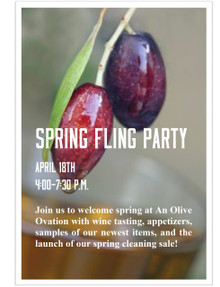 Spring Fling Party!    Wednesday, April 18, 2018,    4-7:30 p.m.