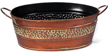 Oval Tin Gift Basket Copper Finish