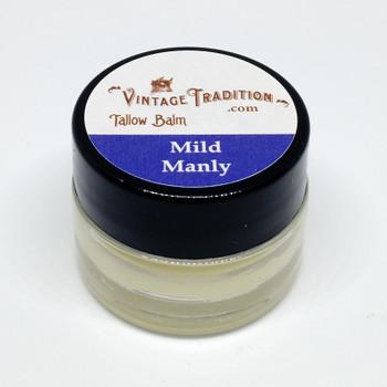 Sample - Mild Manly Unscented Tallow Balm, 1/4 fl. oz. (7 ml)