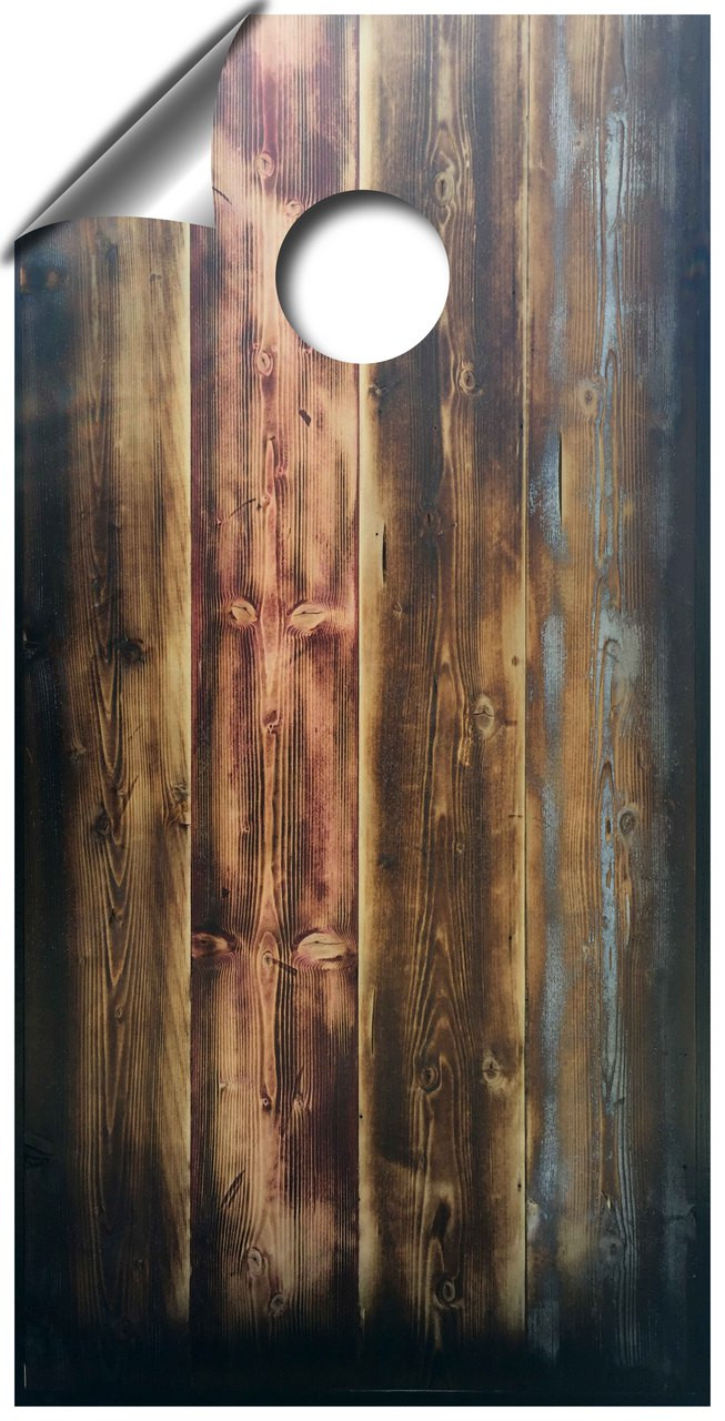 Rustic Barnwood looking cornhole board wraps