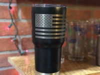 30oz or 20oz Black Powder Coated Laser Engraved Stainless Steel Tumblers