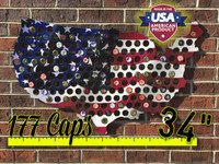 "34"" United States of America Beer Cap Map with Flag"