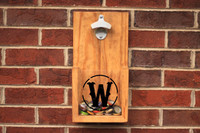 Custom Rustic Wall Hanging Bottle Opener: Golden Oak