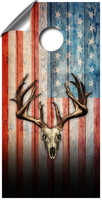 American Flag Deer Skull Cornhole Board Wrap Set