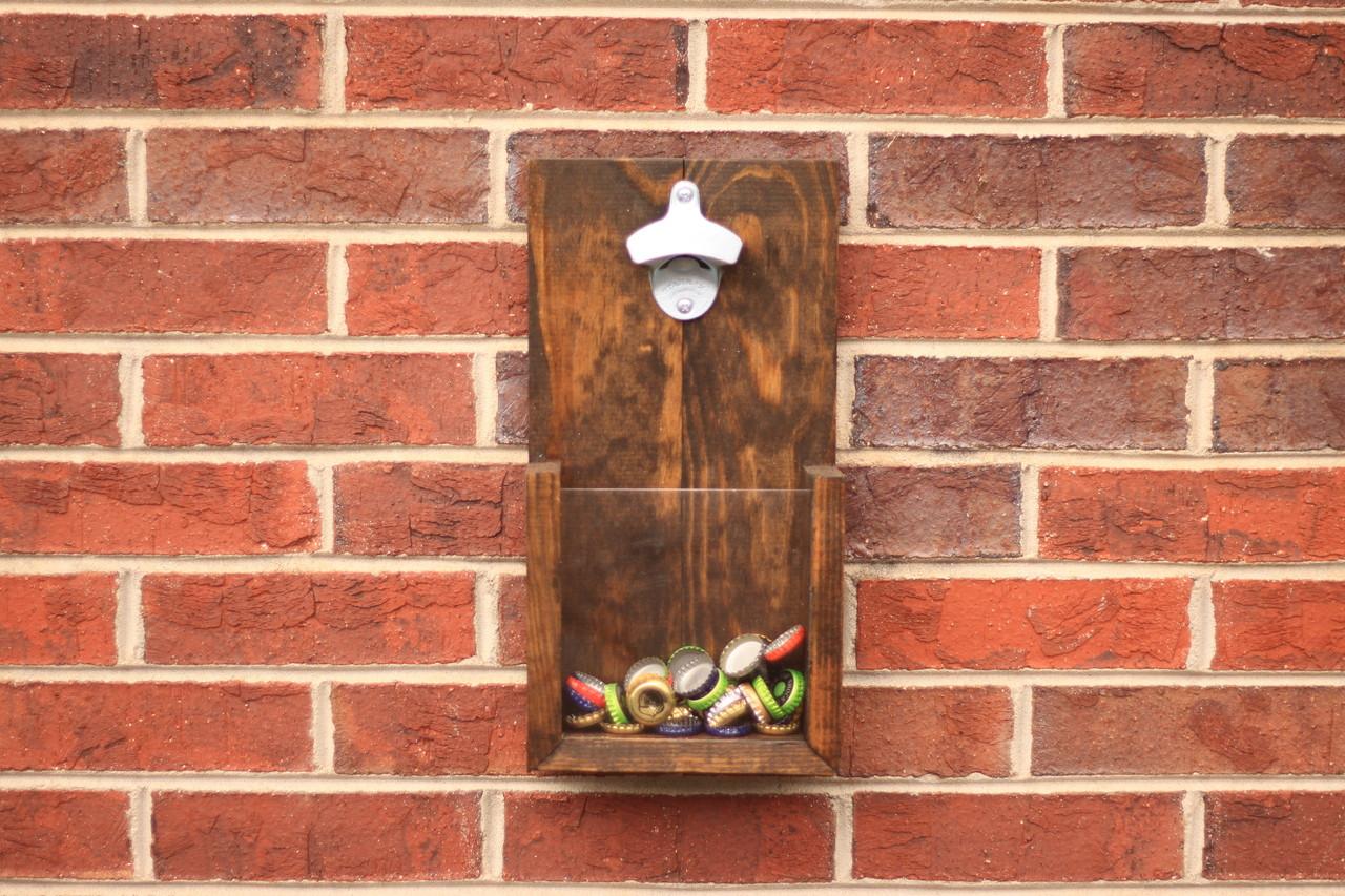 custom rustic wall hanging bottle opener dark walnut stain w