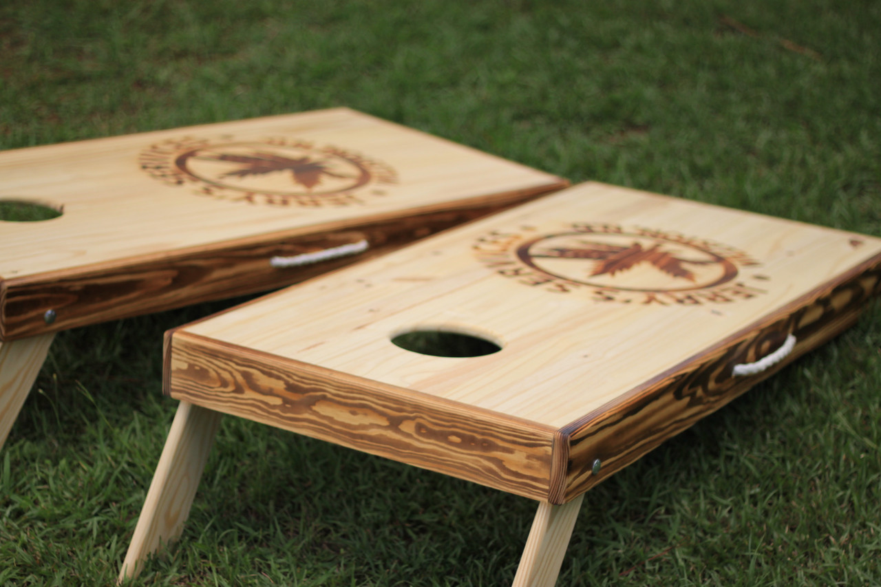 burner and laser engraved custom cornhole boards - Custom Corn Hole Boards