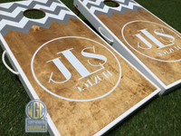 Half Chevron Circle Monogram Custom Cornhole Boards