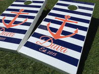 Anchor and Stripe Custom Cornhole Boards