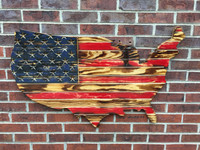 Red and Navy Rustic Engraved Wooden American Flag USA Map