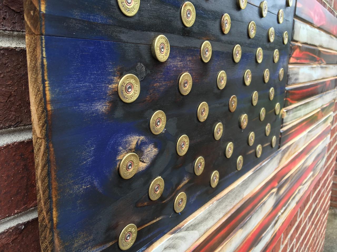Shotgun Shell Rustic Engraved Wooded American Flag