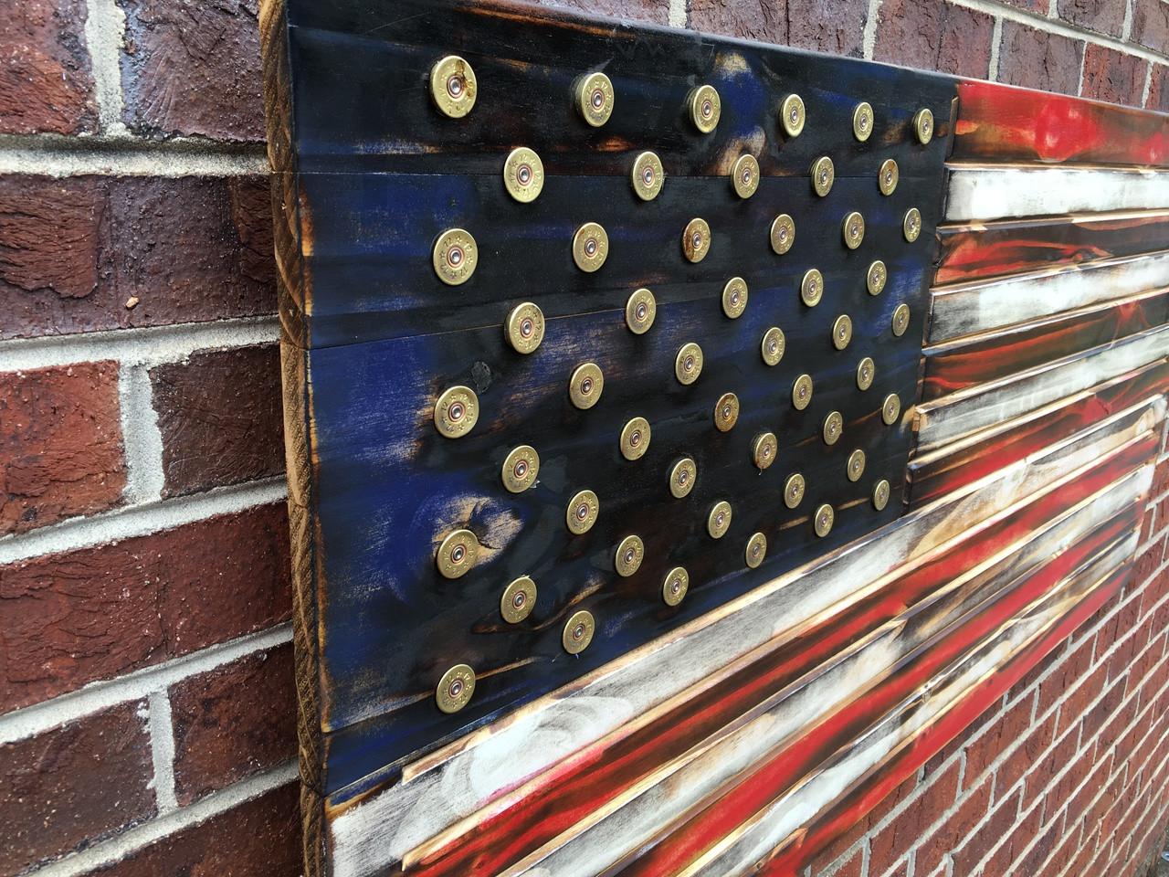 Side Shotgun Shell Wooden American Flag