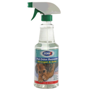 Eliminate pet odors from fur, carpet, furniture with ZORBX safe and non-toxic 16 oz. Unscented Pet Odor Remover