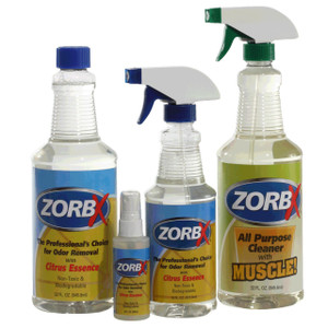 Eliminate odors and grease stains instantly with ZORBX Citrus Odor Remover four piece value pack plus cleaner