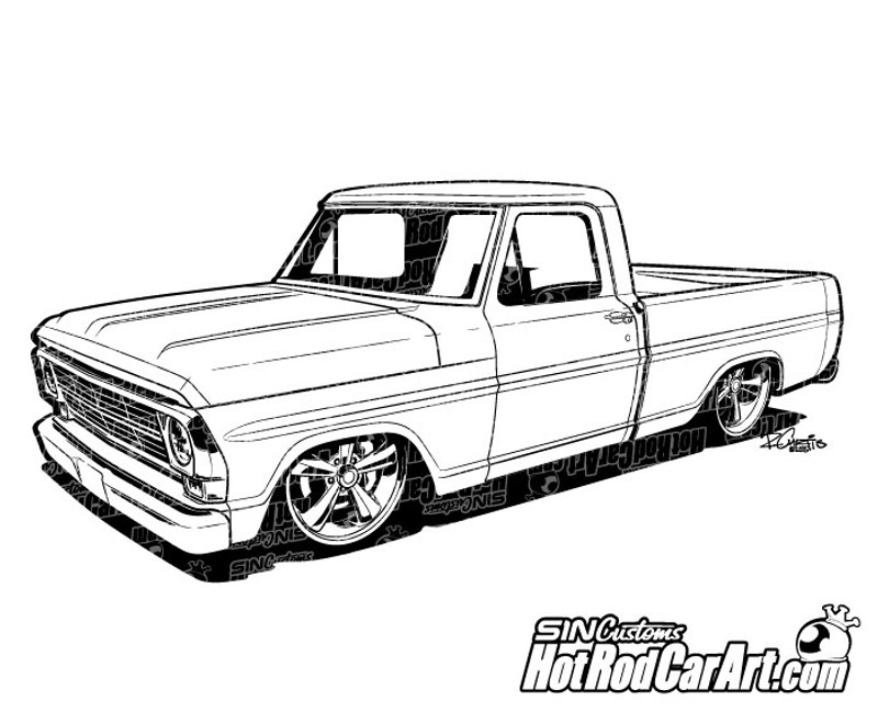1969 Ford F100 Pickup Truck Clip Art