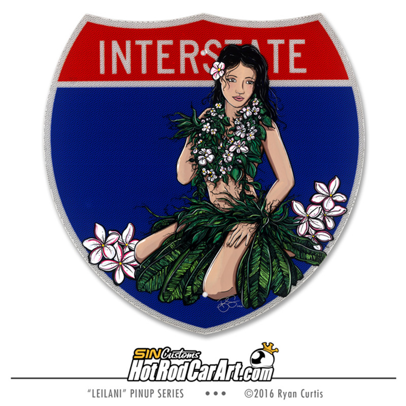 Original Painting created by SIN Customs hot rod artist Ryan Curtis - Featuring a Island Hula Girl on a Interstate road sign