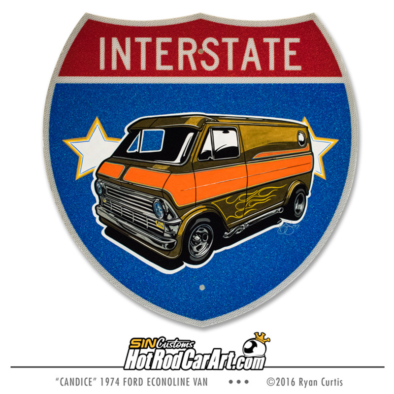 Original Painting created by SIN Customs hot rod artist Ryan Curtis - Featuring a 1974 Ford Econoline Van