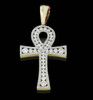 10K Gold 0.60CT Diamonds Micro Ankh Pendant