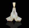 10K Gold 0.20CT Diamonds Micro Praying Hands Pendant