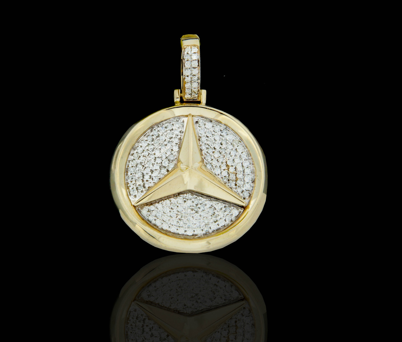 10k gold diamonds mercedes benz pendant king for Mercedes benz earrings