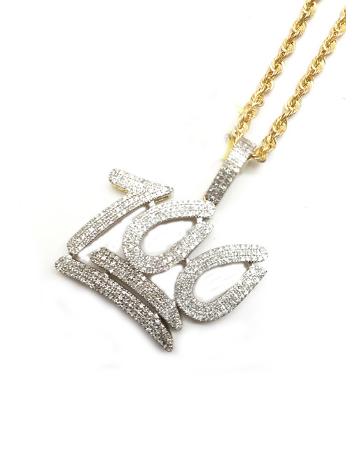 "10K Gold 0.75CT Diamond ""100"" Pendant"