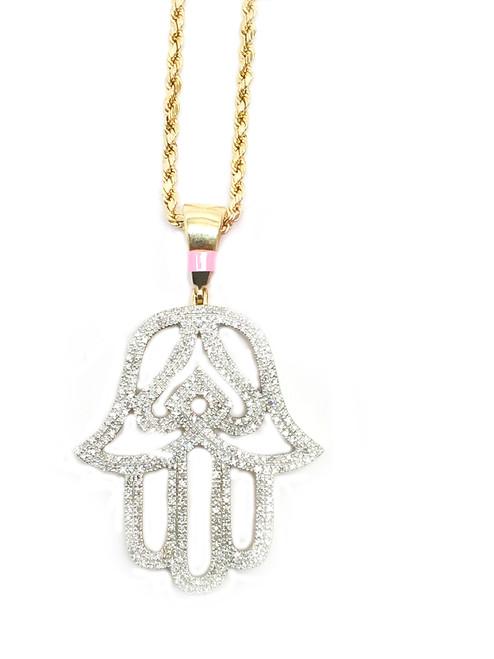 10K Gold 0.53Ct Diamonds Hamsa
