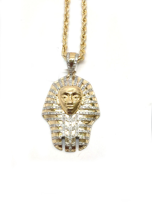 10K Gold Pharaoh Head 0.36ct White Diamonds