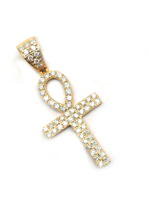 10K Gold Ankh with 0.91ct White Diamonds