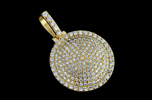 10K Gold 3.60CT Custom Round Iced out Pendant