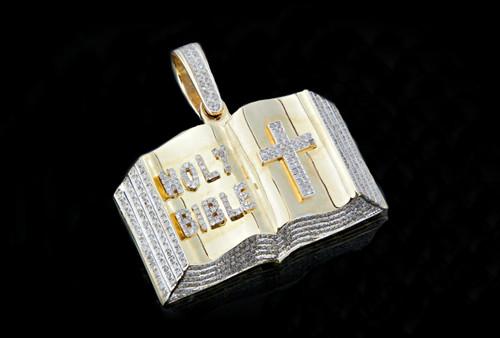 "10K Gold 1.00CT Diamonds ""Holy Bible"" Pendant"