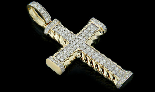 10K Gold 1.65CT Diamonds Cross Pendant