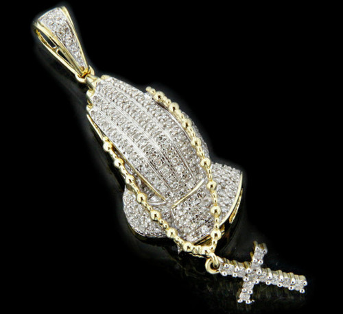 10K Gold 0.35CT Diamonds Praying Hands Pendant