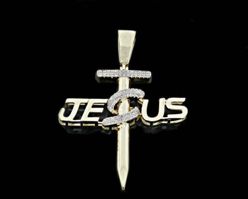10K Gold 0.10CT Diamond Micro Jesus Cross Pendant