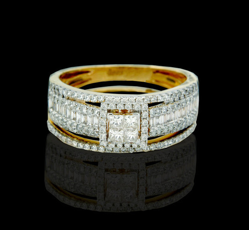 14K Gold 1.15CT Diamonds Ladies Engagement Ring with Band