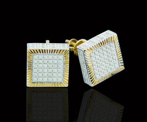 10K Gold 0.50CT Diamond 3D Square Earrings