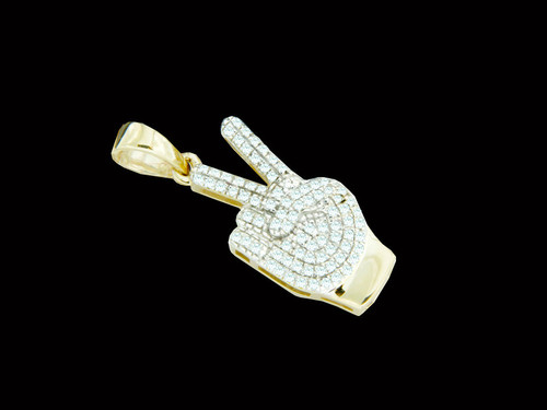 10K Gold 0.19CT Diamonds Peace Out Pendant