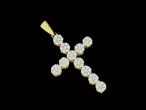10K Gold 0.51CT Diamonds Flower Clusters Cross Pendant