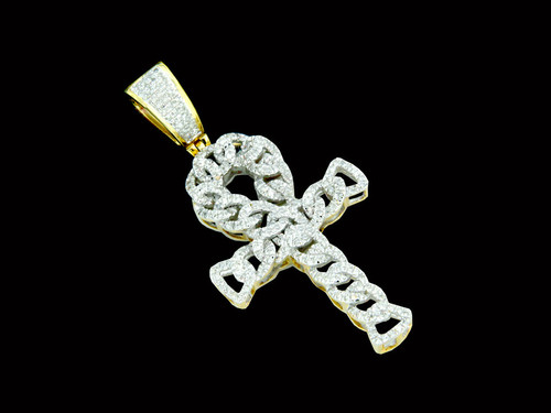 10K Gold 0.59CT Diamonds Cuban Link Cross Pendant