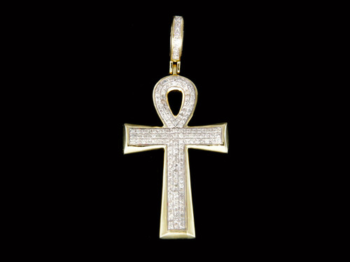 10K Gold 0.36CT Diamonds Ankh Pendant