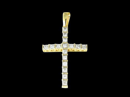 10K Gold 0.72CT Diamonds Cross Pendant