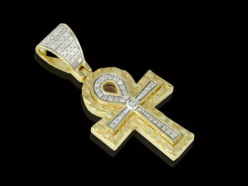 10K Gold 0.18CT Diamonds Nugget Ankh Pendant