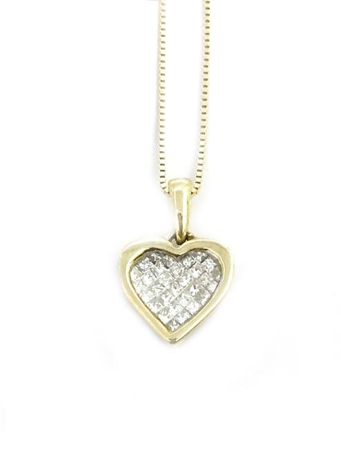 14K Gold 0.25ct diamonds Heart Pendant
