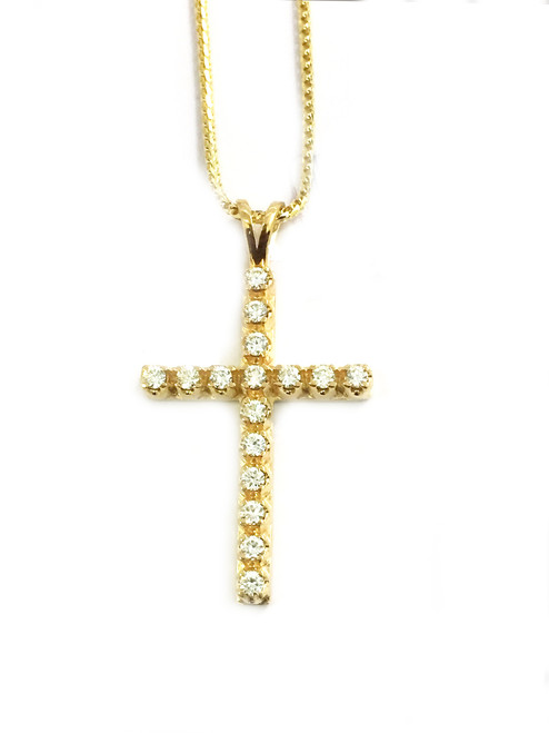 10K gold 0.47ct diamonds cross with 10K gold chain