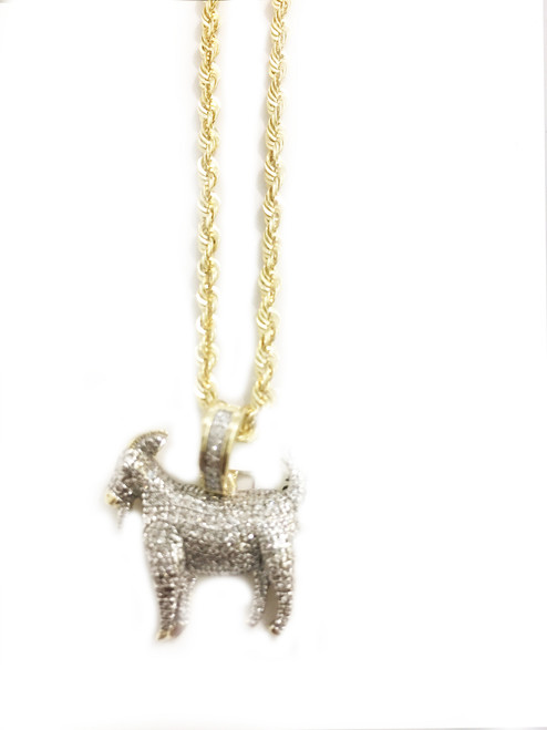 10K gold 0.40ct Diamonds Goat Pendant With 10K Gold chain