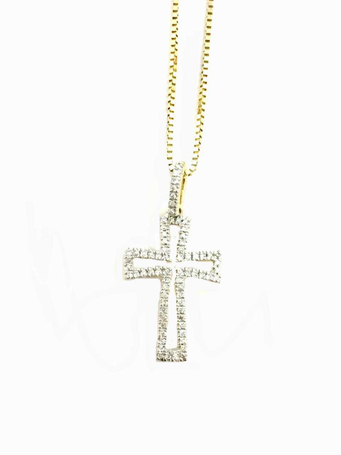 10K Gold 0.10ct diamonds cross with 10K gold chain