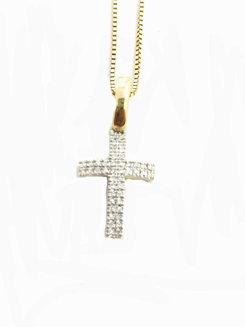 10K gold cross 0.10 ct diamonds with 10K gold chain