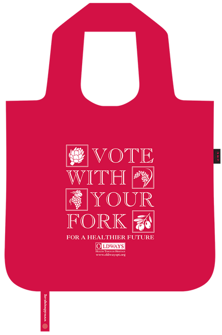 Oldways vote with your fork bag unfolded for use in red