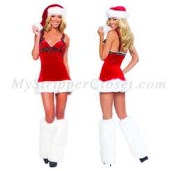 C141 Roma Sexy Stripper Santas Flirt Fur Trimmed Dress Plaid Bows